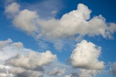 Cumulus nimbus huge in the sky. Cottony clouds that carry a storm royalty free stock image