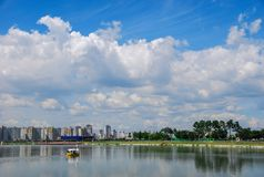 Big Cloud in the Sky With Lake royalty free stock photos