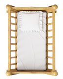 Cuna de madera del bebé con la almohada aislada en el fondo blanco, visión superior Imagen de archivo libre de regalías