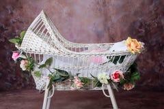 Cuna florecida del bebé Fotos de archivo