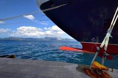 Cunard Queen Victoria alongside in Corfu. Cunard Queen Victoria in port of Corfu in September 2017 Stock Image