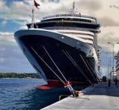 Cunard Queen Victoria alongside in Corfu. Cunard Queen Victoria in port of Corfu in September 2017 Royalty Free Stock Photos