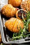 Cunei al forno della patata con formaggio ed erbe e salsa al pomodoro su fondo nero immagine stock