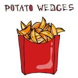 Cunei della patata in scatola di carta Fried Potato Fast Food in un pacchetto rosso Schizzo disegnato a mano realistico di stile  Immagini Stock Libere da Diritti