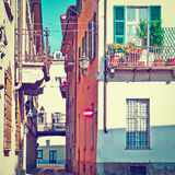 Cuneo. Architecture of the Medieval Piedmont City of Cuneo in Italy, Instagram Effect Stock Photo