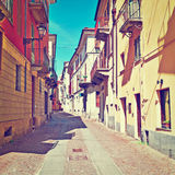 Cuneo. Architecture of the Medieval Piedmont City of Cuneo in Italy, Instagram Effect Royalty Free Stock Photos