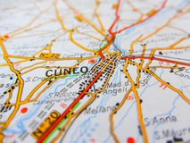 Cuneo city over a road map ITALY Royalty Free Stock Images