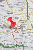 Cuneo fijó en un mapa de Italia Fotografía de archivo libre de regalías