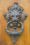 Cuneo. Original door knocker on a wooden door in Cuneo Royalty Free Stock Photography