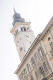 Cuneo. Palazzo della Torre with clock tower in the center of Cuneo Royalty Free Stock Image
