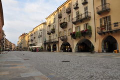 Cuneo, Piemonte, Italy. Evening stroll on via Roma Royalty Free Stock Photos