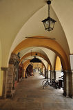 Cuneo, Piemonte, Italy. Old city centre arcade. The old porticoes in the city center of Cuneo, Italy. Traditional italian pedestrian arcade. Region of Piemonte Stock Photo