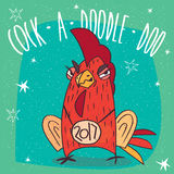 Cunning and arrogant cock or rooster frowns. Cartoon cunning and arrogant cock or rooster with the logo 2017, stands and frowns on cyan background. Cock a doodle Royalty Free Stock Photography