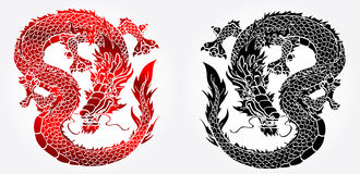 Cunning Asian black and red dragon on white. Cunning Asian Chinese dragon on white background black and red version Royalty Free Stock Photography
