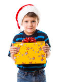 Cunning boy with gift box Royalty Free Stock Image
