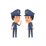Cunning Character Constabulary gossiping and telling secret to h Royalty Free Stock Image