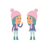 Cunning Character Winter Girl gossiping and telling secret to his friend Royalty Free Stock Image