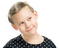 Cunning child emotion. On white background isolated Royalty Free Stock Image