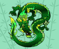 Cunning green Asian dragon on bamboo. Cunning green wood Asian Chinese dragon on bamboo Royalty Free Stock Images