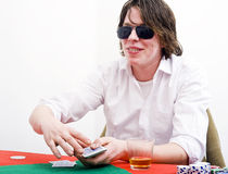Cunning poker face Royalty Free Stock Photo