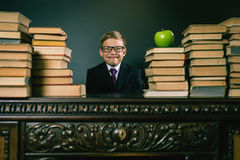 Cunning school boy sitting at the table with many book. S and one green apple. Smiling child dressed in school uniform and glasses. Blackboard. Student. Concept Stock Photos