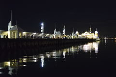 Cunningham pier Geelong reflecting on a quiet night stock image
