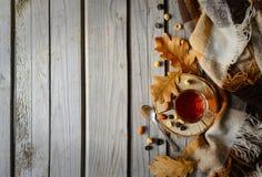 Cuo des Tees mit Plaid und Blättern auf Holz Lizenzfreies Stockfoto