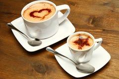 Cuo van cappuccino's en van de koffie Stock Foto