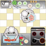 Cuochi in cucina, la vista superiore Immagini Stock Libere da Diritti