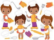 Cuochi unici afroamericani svegli di vettore piccoli che cucinano e che cuociono Piccoli bambini di vettore Fotografia Stock