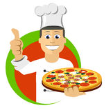 Cuochi unici cucinare del fumetto, tenente vassoio con pizza Fotografia Stock