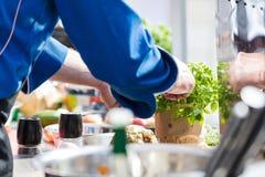 Cuochi unici sul lavoro in una cucina del ristorante che produce alimento delizioso immagine stock