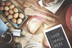 Cuocia il concetto gastronomico della cucina degli ingredienti di cottura del forno Fotografia Stock