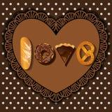 Cuocia le merci nella parola di forma di amore illustrazione di stock