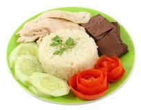 Cuocia a vapore il pollo sopra riso Fotografie Stock