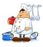 Cuoco con gli utensili della cucina Fotografia Stock Libera da Diritti