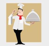 Cuoco con il piatto Fotografia Stock