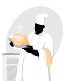 Cuoco con il pollo Fotografia Stock