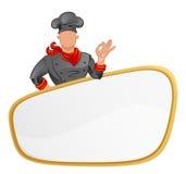 Cuoco con l'insegna Immagine Stock