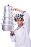 Cuoco con la pila di vasi Immagine Stock Libera da Diritti