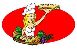 Cuoco con un panino Fotografia Stock Libera da Diritti