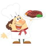 Cuoco del fumetto con fondo bianco Fotografie Stock