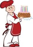 Cuoco del fumetto con la torta di compleanno Fotografia Stock Libera da Diritti