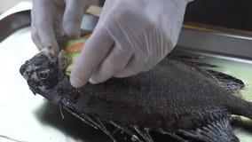 Cuoco del cuoco unico che decora pesce arrostito con il contorno di verdure su cucina del ristorante Cucini il pesce arrostito pr archivi video