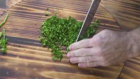 Cuoco del cuoco unico che taglia prezzemolo verde sul punto di vista superiore del bordo di legno Cuoco del cuoco unico che tagli video d archivio