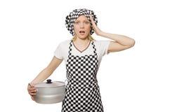 Cuoco della donna isolato Fotografia Stock