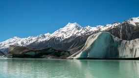 Cuoco di Mt osservato dal lago Tasman, Nuova Zelanda Fotografia Stock