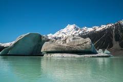 Cuoco di Mt osservato dal lago Tasman, Nuova Zelanda Immagine Stock Libera da Diritti