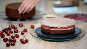 Cuoco di pasticceria femminile irriconoscibile che schiaccia la crema del cioccolato sul dolce di strato appetitoso nella cucina video d archivio