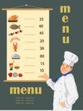 Cuoco e menu Fotografia Stock